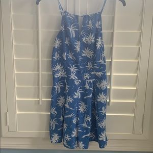 Blue and white palm tree romper.